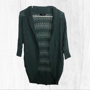 A.n.a Open Front Knit Cardigan Sweater Green Small